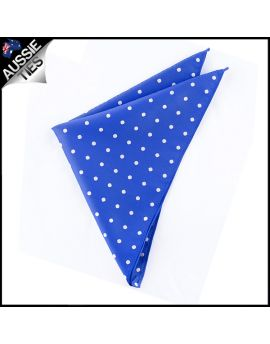 Royal Blue Polka Dot Pocket Square Handkerchief
