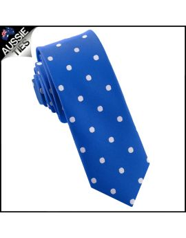 Royal Blue Polka Dot Mens Skinny Necktie