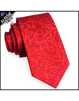 Scarlet Red Floral with Highlights Mens Necktie