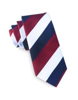 Scarlet, White & Blue Stripes Tie