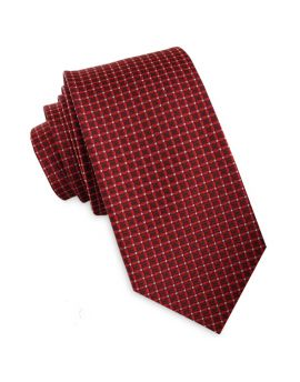Scarlet with Red & White Checks Slim Tie