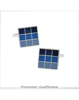 Shades of Blue Checker Board Cufflinks