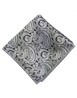 silver and black paisley pocket square