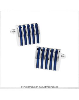 Silver and Azure Blue Ribs Cufflinks