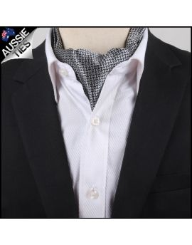 Men's Silver & Black Interlocking Design Ascot Cravat