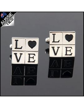 Mens Silver & Black Love Cufflinks