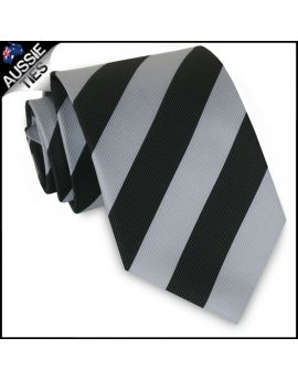 Mens Silver & Black Stripes Sports Tie