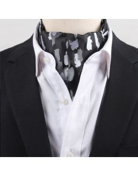 Men's Black with Silver Paint Ascot Cravat