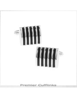 Silver and Black Ribs Cufflinks