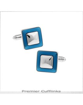Silver and Cobalt Squares Cufflinks