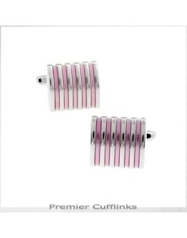 Silver and Pink Ribs Cufflinks