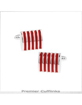 Silver and Red Ribs Cufflinks