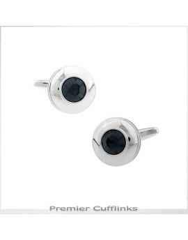 Silver Circle With Black Inset Cufflinks