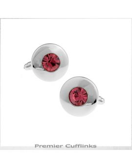Silver Circle With Pink Inset Cufflinks