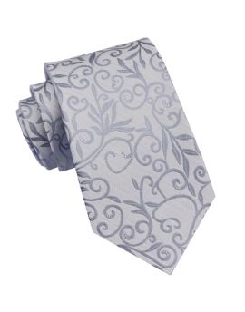 Silver Floral with Highlights Mens Tie