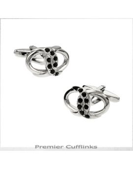 Silver Interlinked Rings with Black Insets Cufflinks