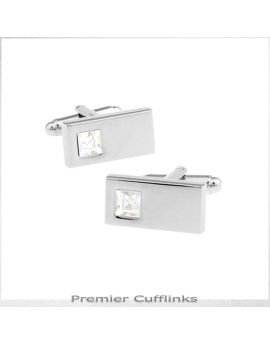 Silver Rectangle with Crystal Inset Cufflinks