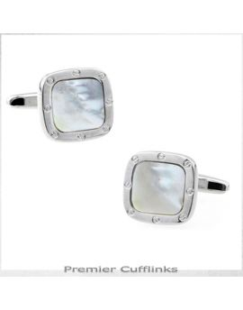 Silver With White Shell Inset Cufflinks