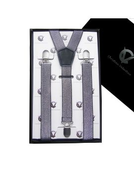 Men's Silver Specks Braces Suspenders