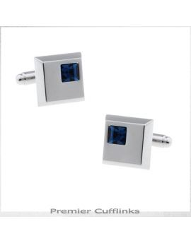 Silver Squares with Azure Blue Inset Cufflinks