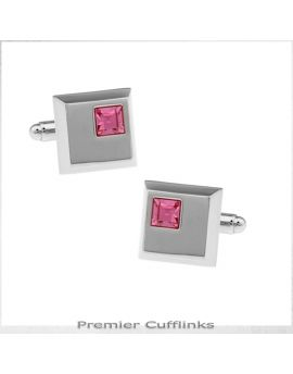 Silver Squares with Pink Inset Cufflinks