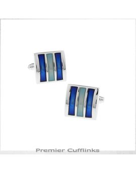 Silver Squares with Turquoise and Blue Bars Cufflinks