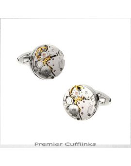 Silver Steampunk Watch 2 Cufflinks