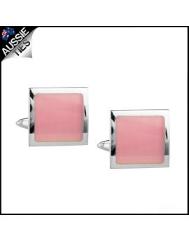 Mens Silver with Baby Pink Inset Cufflinks