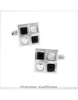 Silver with Black & Crystal insets Cufflinks