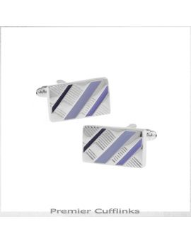 Silver With Black and Purple Diagonal Stripes Cufflinks