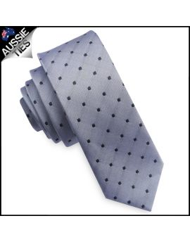 Silver with Black Polkadots Mens Skinny Tie