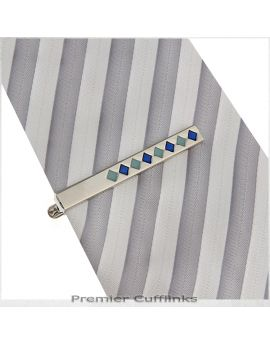 Silver with Green & Blue Diamonds Tie Clip