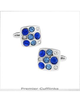Silver With Blue Crystal Insets Cufflinks