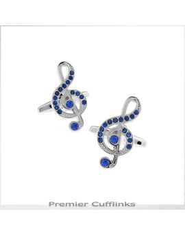 Silver With Blue Treble Clef Cufflinks