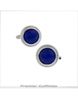 Silver With Electric Blue Inset Cufflinks