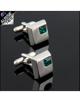 Mens Silver with Emerald Inset Cufflinks