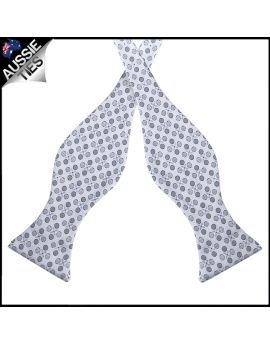 Silver with Grey Polkadots Self Tie Bow Tie
