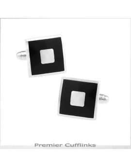 Silver With Inner Black Square Cufflinks