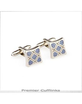 Silver with Light Blue Stone Texture Cufflinks