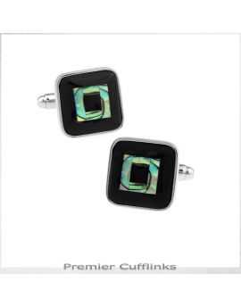 Black with Paua Square Inset Cufflinks