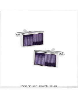 Silver with Purple Thin Stripes Cufflinks