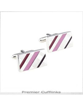 Silver with Red and Pink Diagonal Stripes Cufflinks