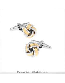 Silver with Ribbed Gold Knot Cufflinks