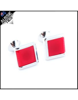 Mens Silver with Rose Pink Inset Cufflinks