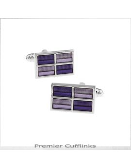 Silver with Shades of Purple Rectangles Cufflinks