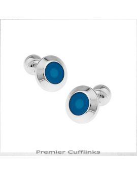 Silver with Teal Inset Cufflinks