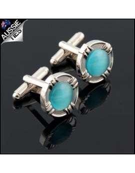 Mens Silver with Turquoise Inset Cufflinks