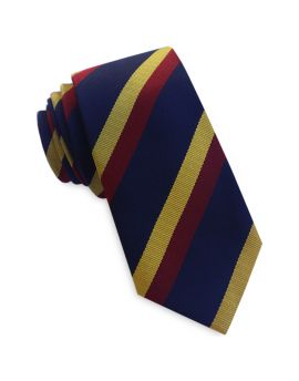 Navy with Red & Yellow Stripes Slim Tie