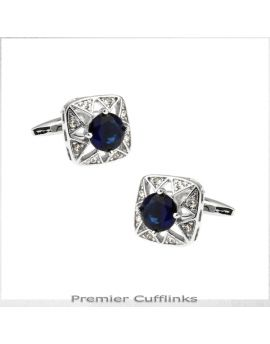 Star Border with Deep Blue Crystal Inset Cufflinks