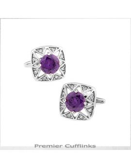 Star Border with Purple Crystal Inset Cufflinks